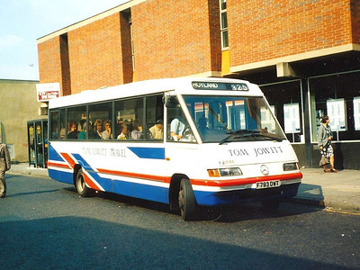 Tom Jowitt was also operating this Optare bodied Mercedes Benz 811D, F793DWT. Midland Street, 26th May 1990