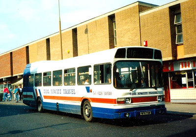 Tom Jowitt Travel Leyland National NFN78M, Midland Street, 26th MAy 1990, unfortunately with the front of the bus in shade.