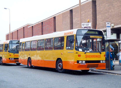 Loading on Midland Street is Shearings 80 (H580DVM), another Alexander (Belfast) bodied Volvo B10M