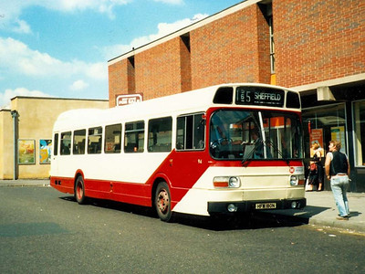 SUT operated into Barnsley on service 165 from Sheffield. Leyland National 94 (HFM180N) is seen on Midland Street in May 1987
