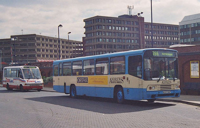 At some point in the mid 90s I took this rather grainy shot of Andrews Sheffield Omnibus 2337 (K237MAP) in the bit of Barnsley Bus Station on the other side of the railway