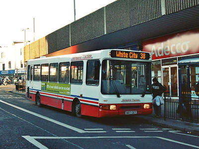 447 (N107CET) is an ex-Yorkshire Terrier NCME bodied Dennis Dart, also on Kendray Street