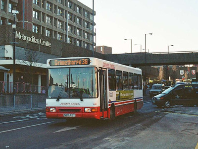 446 (N106CET) is a Northern Counties bodied Dennis Dart which originated with Yorkshire Terrier in Sheffeld. Kendray Street, 23rd December 2005.