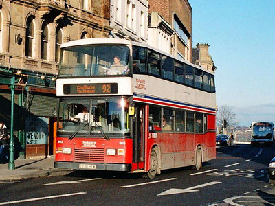 East Lancs Olympian 903 (E736HFW), in Eldon Street, came from Road Car