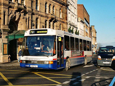 Barnsley & District had quite a few Optare Deltas, many of which came from Trent, such as 314 (K341FAL), seen in Eldon Street