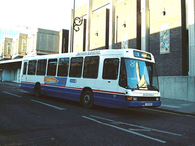 Barnsley & District 305 (J320BVO) is another ex Trent Optare Delta, seen in The Shambles.