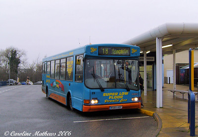 Powells 33 (R565UOT), another UVG bodied Dennis Dart SLF was also on the 18, and took me to Doncaster on 28th December 2006.