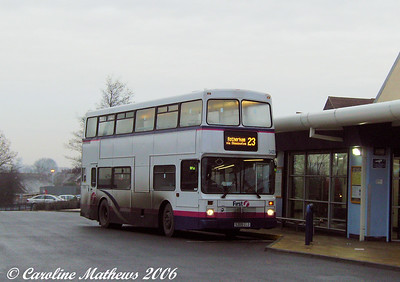 First 34209 (S209LLO), a refugee from London, is a Northern Counties bodied Volvo Olympian