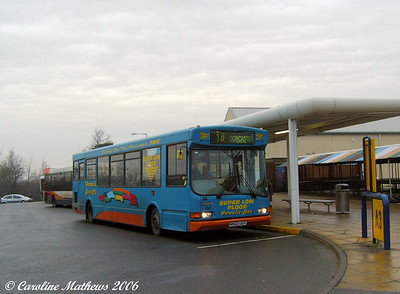 Dinnington has a pleasant little modern Bus Station. Seen on stand there is Powells 32 (R560UOT), a UVG bodied Dennis Dart SLF, on the route to Doncaster