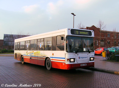 Still in Tracky livery is East Lancs bodied Scania L113CRL 28967 (M297TWB). Mexborough Bus Station is a simple affair and is served by buses heading east only