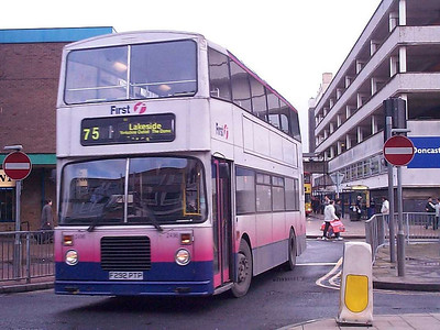 Sister vehicle 2496 (F292PTP) is seen in the same place, this bus being in Barbie 2 livery