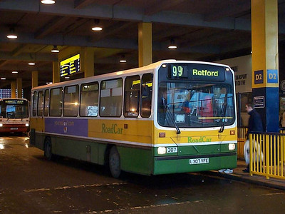 Under the roof at South Bus Station is Wright bodied Dennis Dart L307VFE, number 307 in the Road Car fleet