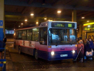 Under the roof of the Bus Station is ex First Centre West Dennis Dart N817FLW, now 548 in the Mainline fleet. This was one of several Darts I saw running with no route numbers, but the only one I got a half-decent photograph of