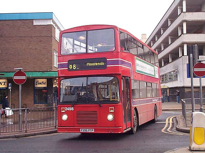 Mainline 2498 (F295PTP), wearing the final version of Doncaster Transport livery before being subsumed into South Yorkshire coffee and cream in 1974. 2498 is an East Lancs bodied Dennis Dominator new to Southampton