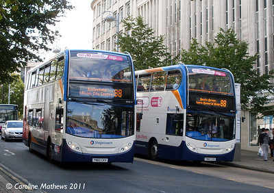 Stagecoach 15720 (YN60CKV) & 15710 (YN60CKD), Angel Street, Sheffield, 9th August 2011