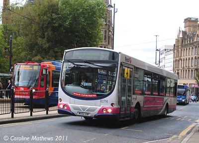 First 60714 (MV02VBF), Church Street,  Sheffield, 11th August 2011