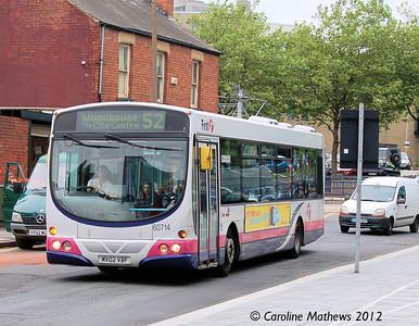 First 60714 (MV02VBF), Leavygreave Road, Sheffield, 1st August 2012