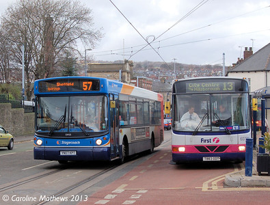 Stagecoach 22425 and First 60701, Hillsborough, 1st February 2013