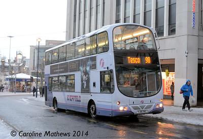 First 37022 (YJ06XKL), High Street, Sheffield, 27th December 2014
