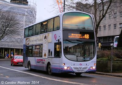 First 37120 (YK07AYV), Fitzalan Square, Sheffield, 4th January 2014