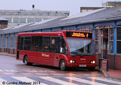 TM Travel 444 (FE02KDJ), Transport Interchange, Sheffield, 4th January 2014