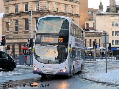 First 37486 (YN08NMJ), High Street, Sheffield, 27th December 2014