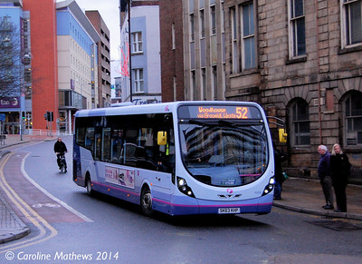 FIrst 63036 (SK63KHP), Castle Street, Sheffield, 4th January 2014