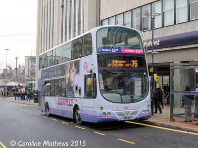 First 37475 (YN08NLP), High Street, Sheffield, 28th December 2015