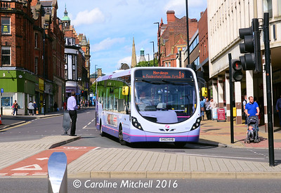 First 63025 (SK63KHB), Pinstone Street, Sheffield, 5th August 2016