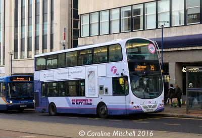 First 37113 (YK07AYM), High Street, Sheffield, 27th December 2016