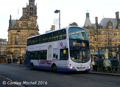First 37476 (YN08NLR), Pinstone Street, Sheffield, 27th December 2016
