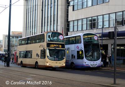 First 37524 (YN58ETR) and 37113 (YK07AYM), High Street, Sheffield, 27th December 2016
