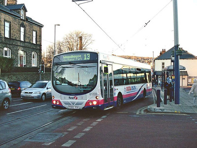 Wright Eclipse bodied Volvo B7L 61208 (YU52VYA) is also seen at Hillsborough on 24th December 2005