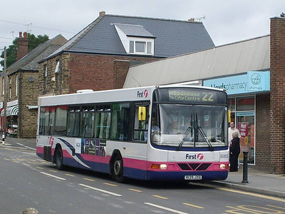 First Wright bodied Volvo B10BLE 60806 (R139JYG) on Cross Street in Woodhouse, 17th August