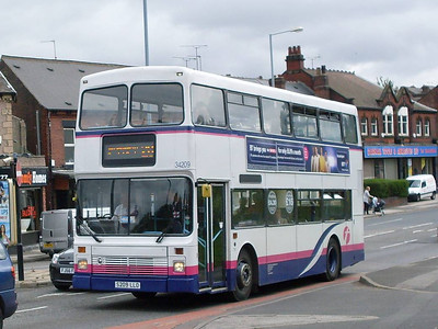 First Northern Counties bodied Volvo Olympian 34209 (S209LLO) waiting at the lights on Main Road in Darnall whilst en route for Meadowhall on service 28, 17th August