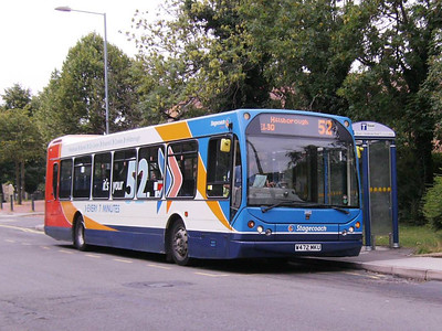 Stagecoach East Lancs bodied DAF SB220 26102 (W472MKU) laying over on Chapel Street, Woodhouse, 17th August