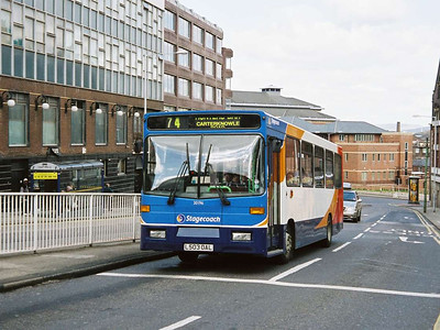 In the same position is Stagecoach Volvo B6/Alexander 30196 (L503OAL), formerly Yorkshire Terrier 2228 and an early repaint into corporate livery following the Yorkshire Traction Group takeover