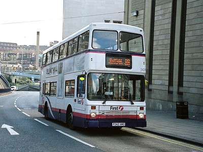 First 34242 (P242HMD), a Northern Counties bodied Volvo Olympian climbing Commercial Street