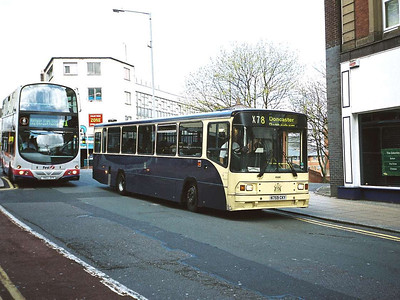 First Volvo B10M 60596 (N759CKY) carried Rotherham Corporation livery for a time. It is seen here in Castle Street on it's usual haunt, the X78.