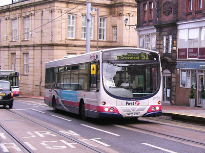 Heading up West Street is Volvo B7L/Wright Eclipse 60739 (MV02VDN) on one of the rare journeys on route 51 to Wyming Brook