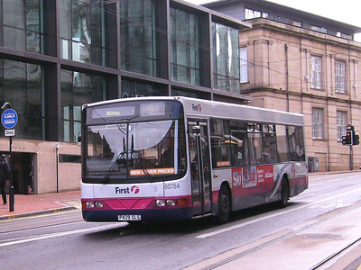 Not a common chassis in Sheffield is the Scania L113CRL. First 60764 (P429GLS), with Wright bodywork, is seen at the foot of West Street, 21st September 2007