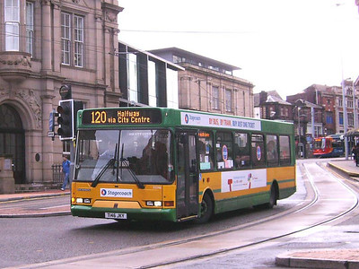 At the same place is Stagecoach East Lancs bodied Dennis Dart SLF 33246 (T146JKY), still in Yorkshire Terrier livery