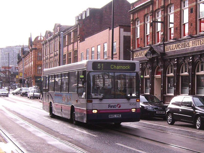Unexpected on route 51 (which had route branded Volvo B10Bs at this time) was Volvo B6/Plaxton 40454 (M415VHE)