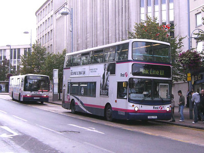 First 31131 (YU52VYG), an Alexander bodied Volvo B7TL, loading on Angel Street, 21st September 2007