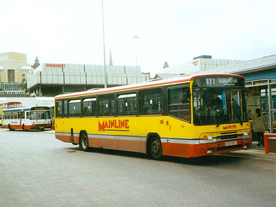One of Mainline's many Volvo B10M-55s, 712 (K712EDT) in the Transport Interchange, 24th July 1993