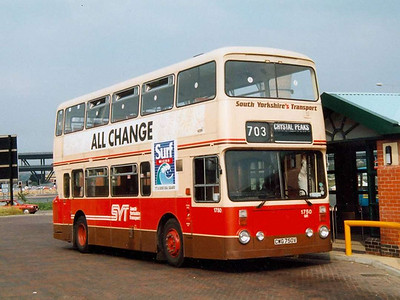 Roe bodied Leyland Atlantean 1750 (CWG750V) in the brown, red and cream livery, Meadowhall Interchange, 25th July 1991