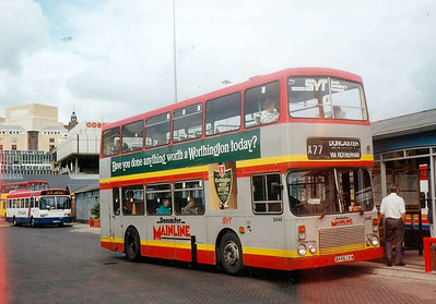 Alexander bodied Dennis Dominator 2448 (B448CKW) in Sheffield Interchange on 19th June 1993, wearing the rather different Doncaster Mainline livery