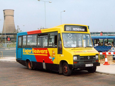 Eager Beaver liveried Reeve Burgess bodied Renault S56 323 (G323NWB), Meadowhall Interchange, 25th July 1991
