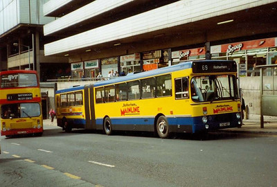 Leyland-DAB articulated bus 2012 (C112HDT) on Flat Street in 1992 in Rotherham Mainline livery