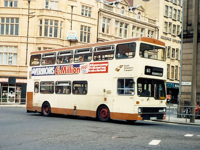 A rubbish photo, but the only one I have of a dual door MCW Metrobus in Sheffield. 495 (JWF495W) is entering West Street on 6th August 1985.